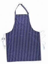 Zástěra s náprsenkou Gastro Klasik voděodolný nylon 72 x 95 cm pruhy bílá/tmavě modrá