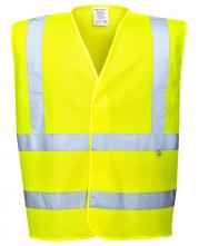 Ochranná výstražná vesta PW FLAMESAFE Hi Vis výstražná reflexní pruhy nehořlavá Index 1 HV žlutá