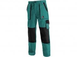 Montérkové kalhoty CXS LUXY JOSEF do pasu 100% bavlna měchové kapsy zesílená kolena zeleno/černé
