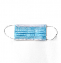 Roušky UNI zdravotnická vrstvená jednorázová kulatá textilní guma za uši 50 ks modrá