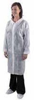 Plášť DC02 jednorázový z netkaného textilu bílý velikost L
