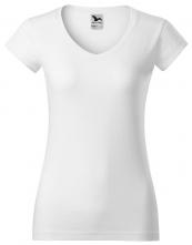 Tričko Fit V-Neck 180 dámské vypasované průkrčník do V krátký rukáv bílé