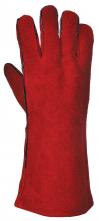 Rukavice PW PROFI WELDER celokožené svářečské kryté švy hovězí štípenka podšívka bavlna červené