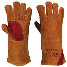 Rukavice PW Premium Weld svářečské celokožené dlouhé zesílená dlaň a palec kvalitní hovězina hnědé