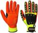 Rukavice Anti Impact Grip TPR/PES/nitrilová pěna protinárazové žluto/oranžovo/černé