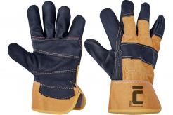 Pracovní rukavice CERVA ORIOLE kombinované hovězí nábytkářská lícovka hřbet bavlna tuhá manžeta černo/žluté