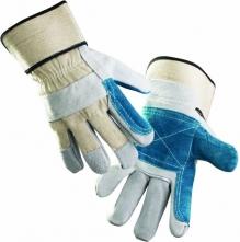 Rukavice CERVA MAGPIE hovězí štípenka kombinovaná s tuhou tkaninou zesílené v dlani a na ukazováčku šedo/modré