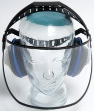 Štít SAFE 1 polykarbonátový čirý v kombinaci s chrániči sluchu EH4