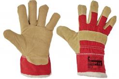 Rukavice CERVA SHAG kombinované zateplené hovězí štípenka s textilem žluto/červené