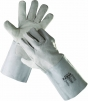 Rukavice celokožené CERVA MERLIN hovězí štípenka dlouhá manžeta šedé