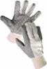 Rukavice CERVA OSPREY bavlněný režný úplet PVC čočka v dlani a na prstech pružný náplet bílé
