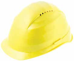Ochranná přilba ROCKMAN C6R HDPE 12 ventilačních otvorů látkový kříž ráčna protažená v zátylku žlutá