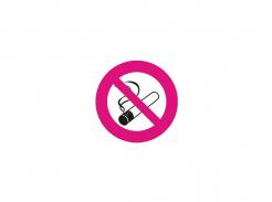 Samolepka Symbol Zákaz kouření bez textu čtvercová 14x14cm červeno/bílo/černá