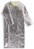 Zástěra slévačská pokovená tepluodolná s rukávy Kevlar/Preox/Abz.Soft otevřená záda 1300 mm stříbrná