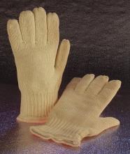 Rukavice PANDA HEAVY aramidové prstové pletené 2 vrstvé protipořezové tepluodolné 300°C délka 29 cm žluté