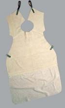 Kožená svářečská zástěra PUTA dlouhá dělená 132x84 cm s límcem hovězí štípenka šedá