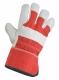 Rukavice CXS BUDY kombinované světlá jemná vepřová lícovka textilní červený hřbet a tuhá manžeta