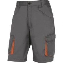Montérkové kraťasy DELTA Bermuda MACH 2 PES/BA šikmé kapsy u pasu měchové kapsy na stehnech šedo/oranžové