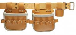 Dvoukapsová kožená hřebíčenka H92-2 s poutky a opaskem světlá