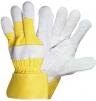 Rukavice CERVA EIDER kombinované zesílené žlutá bavlna/hovězí štípenka