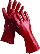 Rukavice CERVA REDSTART bavlněný úplet máčený v PVC délka 45 cm červené