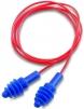 Tlumící zátky HOWARD LEIGHT AIRSOFT měkký plast těsnící lamely průhledná krabička červené spojovací vlákno modré