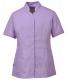 Pracovní blůzka PW Premier PES/BA dámská projmutá krátký rukáv šikmé nízký stojáček fialová