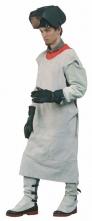 Zástěra LASCAR svářečská kožená s límcem na ramenou šedá