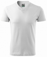 """Tričko V-neck 160 bavlna průkrčník do """"V"""" krátký rukáv bílé"""