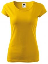 Tričko Pure 150 bavlněné dámské krátký rukáv kulatý průkrčník projmuté žluté