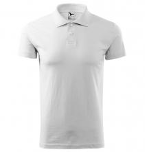 Polokošile Single Jersey 180 bavlna hladká krátký rukáv 2 knoflíky žebrovaný límec bílá