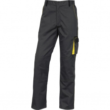 Montérkové kalhoty DELTA D-MACH do pasu PES/bavlna zesílená kolena šikné kapsy šedo/žluté