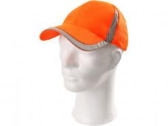 Čepice VIZWELL ELY s kšiltem reflexní pruhy přední část plná zadní ventilovaná suchý zip oranžová