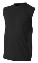 Tričko BERU 160 bez rukávů bavlna obšitý kulatý průkrčník a otvory na ruce černé