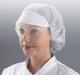 Jednorázová čepice se štítkem SHIELD síťka na vlasy gumičky po okraji bílá