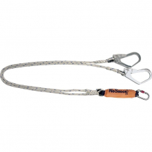 Úchytné lano DELTA NoShock s tlumičem a karabinou rozdvojené a opatřené hákovými karabinami délka 2 m