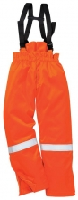 Kalhoty BIZFLAME PLUS do pasu se šlemi antistatické zateplené nehořlavé oranžové velikost XXL