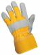 Rukavice CXS DINGO kombinované jemná hovězí štípenka se žlutou tkaninou a tuhou manžetou šedá