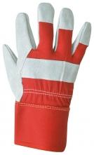 Rukavice PW Premium Chrome Rigger kombinace šedé hovězí štípenka a textilu pugumovaná tuhá mažeta šedo/červené
