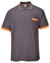 Polokošile Texo Contrast s krátkým rukávem polyester/bavlna šedo/oranžová velikost L