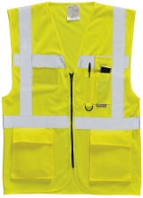 Vesta EXECUTIVE BERLIN výstražná kapsy zip 2 vodorové + svislé reflexní pruhy HV žlutá