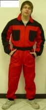 Kombinéza ROMAN 100% bavlna zip pružné náplety na rukávech a nohavicích 4 kapsy stojáček červeno/černá