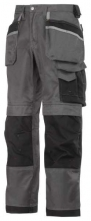 Profesionální pracovní kalhoty SNICKERS DuraTwill do pasu šedo/černé velikost 52