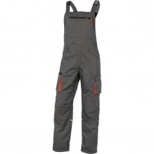 Montérkové kalhoty DELTA MACH 2 NEW s náprsenkou včetně kapsy PES/BA zesílená kolena ploché kapsy šedo/oranžové