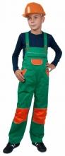 Kalhoty CXS PINOCCHIO laclové montérkové dětské kapsy u pasu a na náprsence zesílená kolena zeleno/oranžové