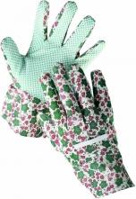 Rukavice CERVA AVOCET bavlněné povrstvené PVC čočkou dámské pestré
