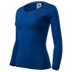 Tričko Malfini Fit-T 160 100 % bavlna dlouhý rukáv dámské kulatý průkrčník lehce vypasované královské modré