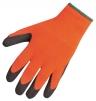 Rukavice Thermal Grip úplet PES potažený latexem zateplené oranžovo/černé