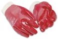 Rukavice PW A400 bavlněný úplet celomáčený v PVC pružná manžeta červené