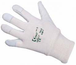 Rukavice CXS TALE kombinované jemná kozinka/bavlna s nápletem šedo/bílé